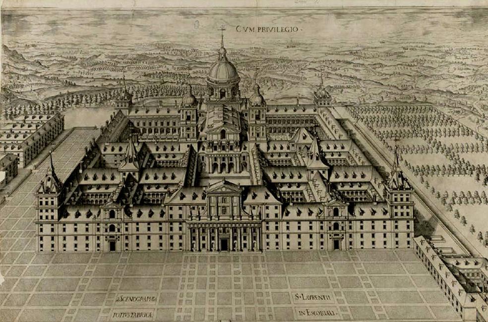 El monasterio de San Lorenzo del Escorial, dibujado por Pedro Perret en 1587. / BNE
